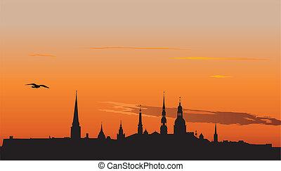 Riga panorama at sunrise