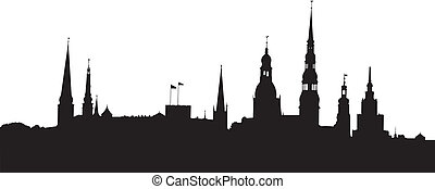 Riga panorama - Vector illustration of Riga old city ...