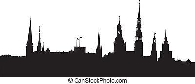Riga panorama - Vector illustration of Riga old city...