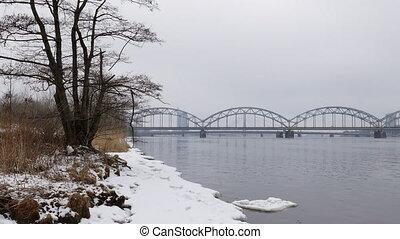 Riga Railway bridge over River Daugava