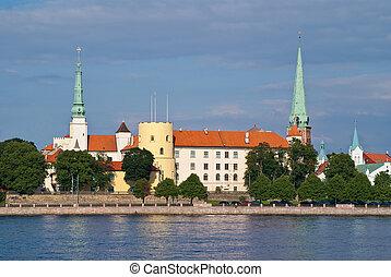 Riga the capital of Latvia, president's castle, cityscape