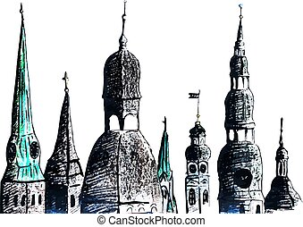 Riga towers - Artistic hand-drawn sketch of towers, Riga, ...