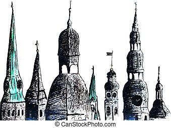 Artistic hand-drawn sketch of towers, Riga, Latvia