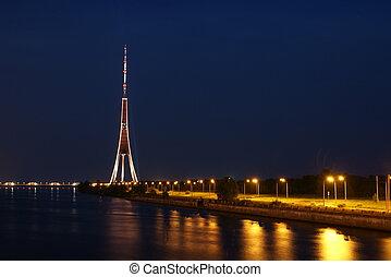 Riga TV tower. - Riga TV tower at night.