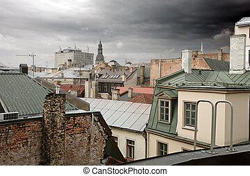 riga, viejo, tejados, letonia