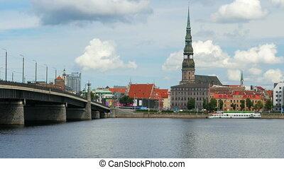 """riga view with bridge over river, latvia"""
