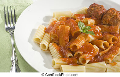 Rigatoni and Meatballs - Rigatoni pasta and Meatballs dinner...