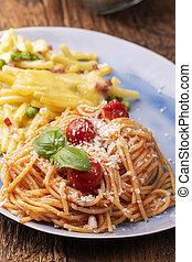 rigatoni emiliana and spaghetti with tomatoes