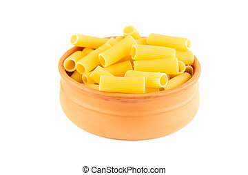 Rigatoni pasta in the brown clay pot isolated on white ...