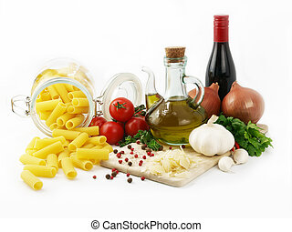 Rigatoni pasta - Pasta isolated and ingredients for cooking