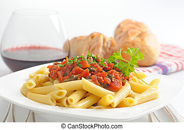 Rigatoni Pasta - Plate of delicious rigatoni with fresh ...