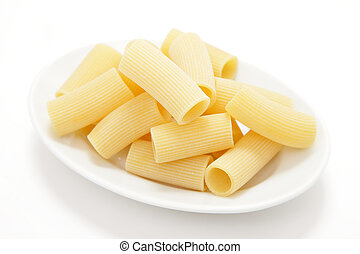 Rigatoni - studio shot of fresh pasta on white background