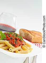 Rigatoni - Tasty rigatoni with homemade tomato garlic sauce.