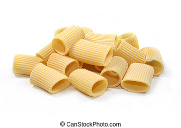 Rigatoni - uncooked rigatoni on white background