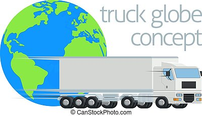 rigg, begrepp, klot, stor, underhållstjänst, lastbil, halv-