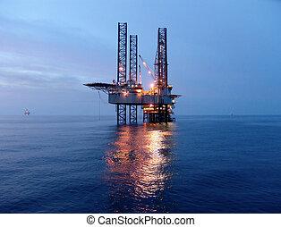 rigg, olja, soluppgång, för