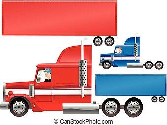 rigg, stor, släpvagn
