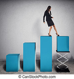 Rigged financial profit . 3D Rendering - Businesswoman...