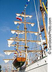 rigging of big sailing ship - photo taken in Szczecin during...