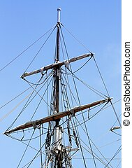 Rigging - rigging of a sail boat with the blue sky in the ...