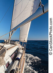 Rigging, ropes, shrouds and sail crop on the yacht