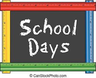 righello, cornice, giorni, scuola