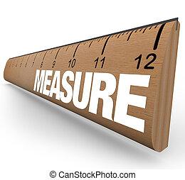 righello, -, misura, parola, con, misure, su, bastone