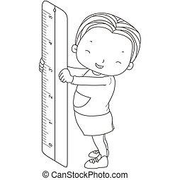 righello, ragazza, coloritura, illustrazione