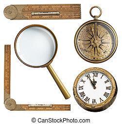 righello, set., orologio bussola, accessori, isolato, vetro, vendemmia, ingrandendo