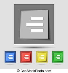 right-aligned, buttons., gekleurde, meldingsbord, vector,...