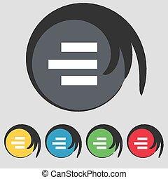 right-aligned, buttons., gekleurde, teken., vector, vijf,...