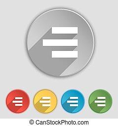 right-aligned, plat, buttons., teken., vector, vijf,...