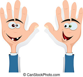 Right And Left Hands Up! - Illustration of cartoon happy...