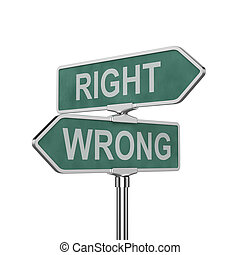 Right and wrong concep - 3d render of right and wrong...