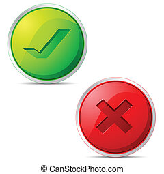 Right and Wrong Icon - illustration of set of glossy right...