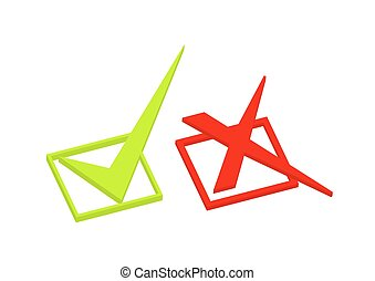 Right and Wrong 3d Symbols Vector Illustration