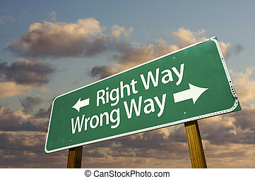 Right and Wrong Way Green Road Sign