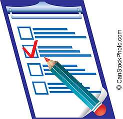 Right answer on checking blank and pensil, vector illustration