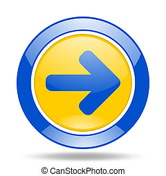 right arrow blue and yellow web glossy round icon