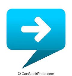 Right arrow blue bubble icon