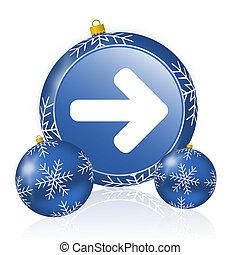 Right arrow blue christmas balls icon