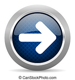 right arrow blue circle glossy web icon on white background, round button for internet and mobile app