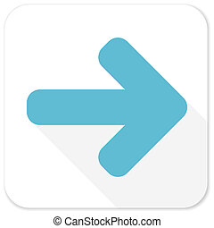 right arrow blue flat icon