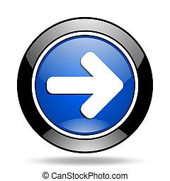 right arrow blue glossy icon