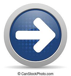 right arrow blue glossy web icon