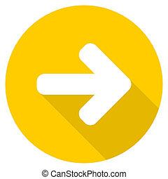 right arrow flat design yellow web icon