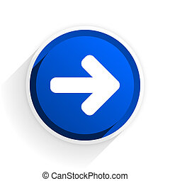 right arrow flat icon with shadow on white background, blue modern design web element