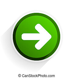 right arrow flat icon with shadow on white background, green modern design web element