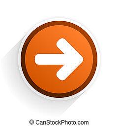 right arrow flat icon with shadow on white background, orange modern design web element