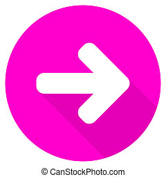 right arrow flat pink icon